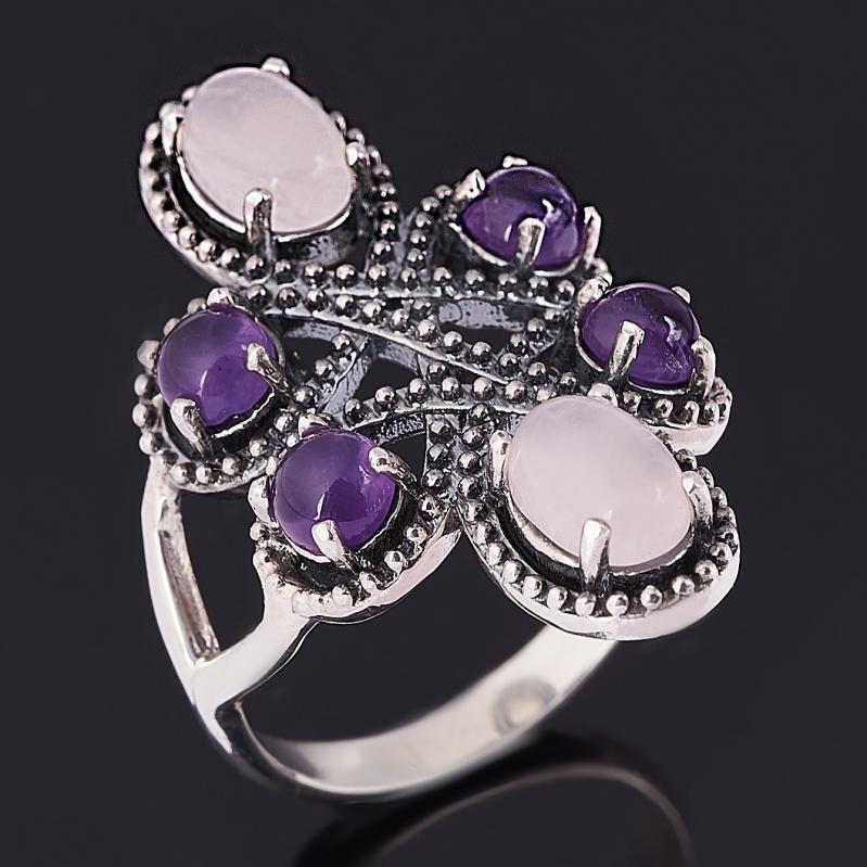 Кольцо микс аметист, розовый кварц (серебро 925 пр. оксидир.) размер 18 кольцо розовый кварц серебро 925 пр оксидир размер 18