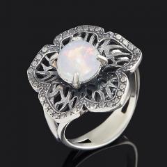 Кольцо опал благородный белый Эфиопия (серебро 925 пр. оксидир.) размер 17
