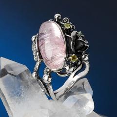 Кольцо турмалин розовый (рубеллит) Россия (серебро 925 пр. оксидир.) размер 18