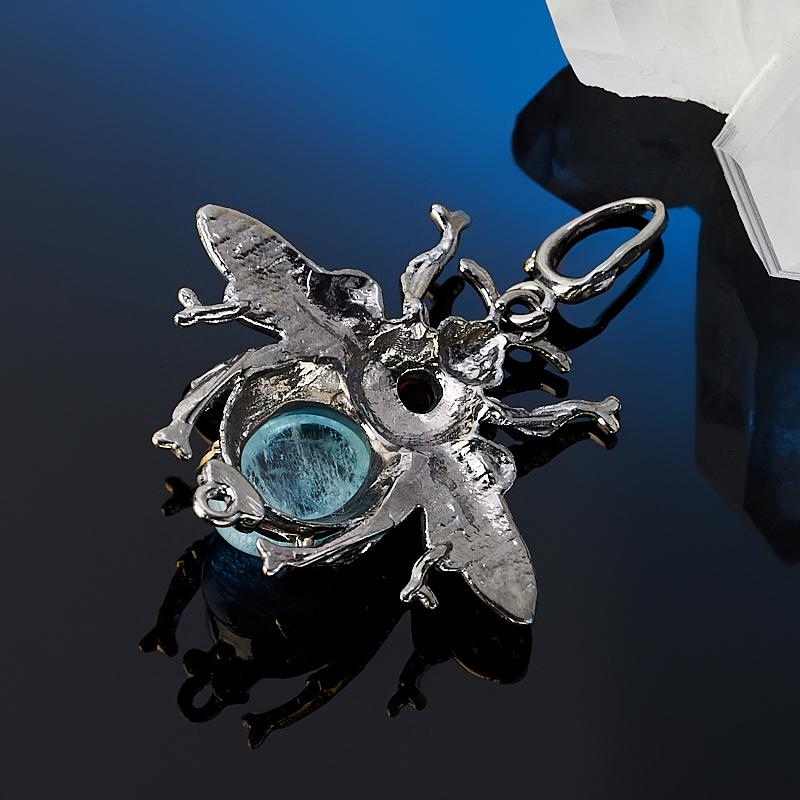 Кулон аквамарин Бразилия (серебро 925 пр. позолота, родир. сер.)