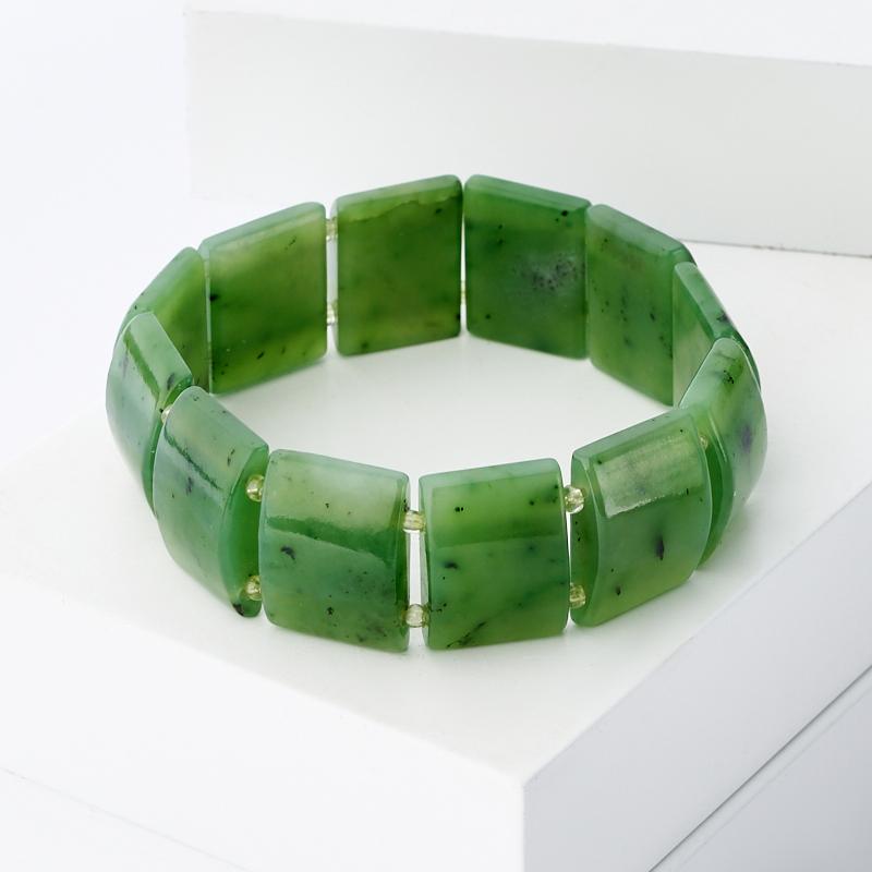 Браслет нефрит зеленый 19 см