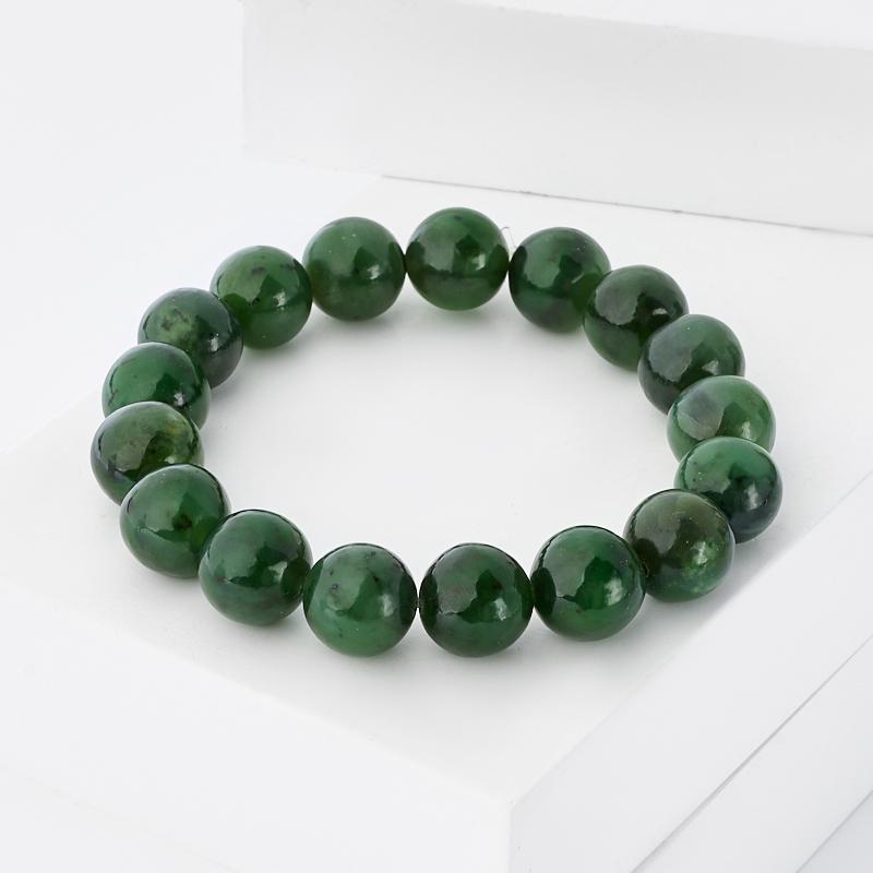 Браслет нефрит зеленый 11 мм 17 см
