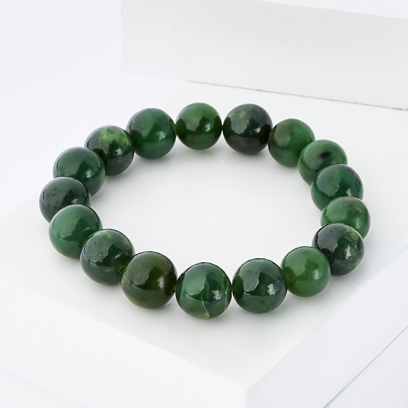 Браслет нефрит зеленый 12 мм 17 см браслет stone будда нефрит браслет stone будда нефрит
