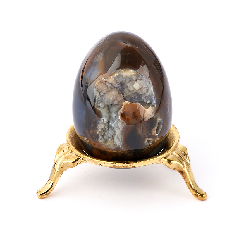 Яйцо агат коричневый (на подставке) 5 см