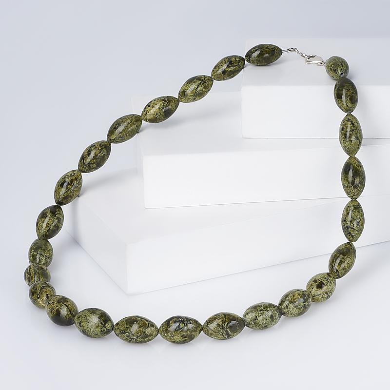 Бусы змеевик (биж. сплав) 50 см