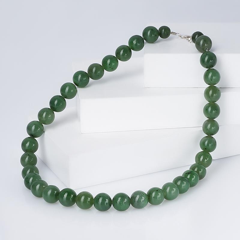 Бусы нефрит зеленый (биж. сплав) 45 см