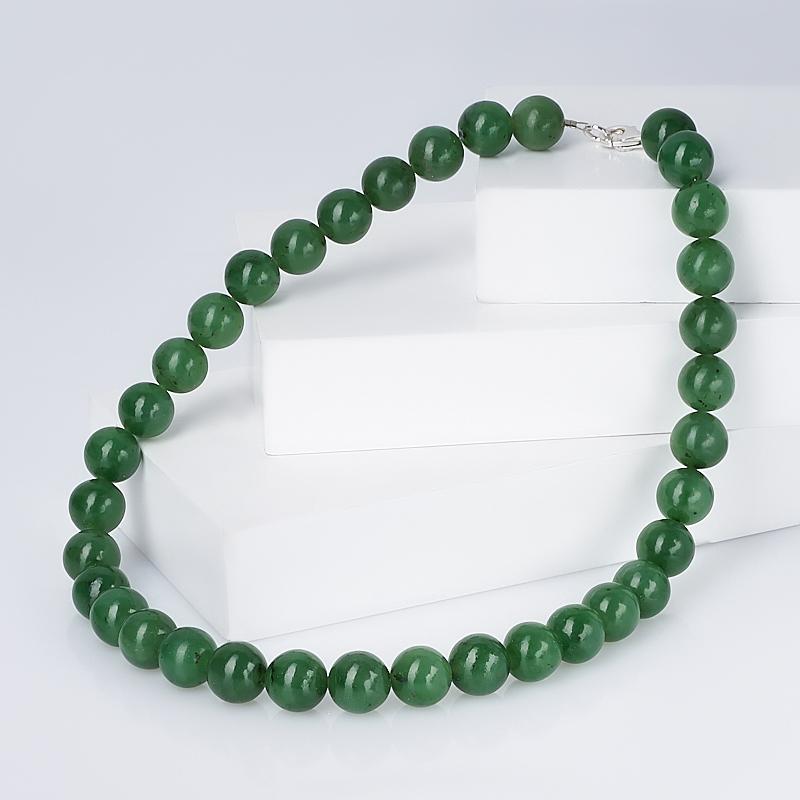 Бусы нефрит зеленый (биж. сплав) 44 см