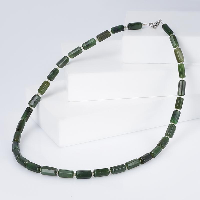Бусы нефрит зеленый (биж. сплав) 48 см