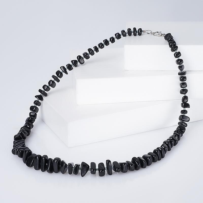 Бусы нефрит черный (биж. сплав) 53 см