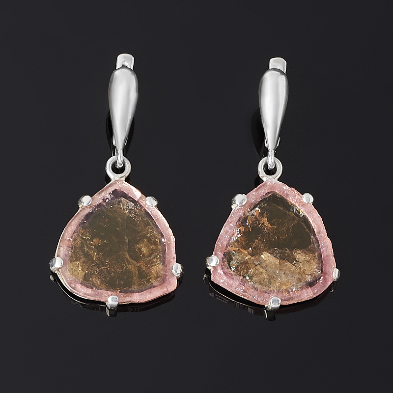 Серьги турмалин полихромный (серебро 925 пр.) кристалл турмалин полихромный xl 40х40х180 мм