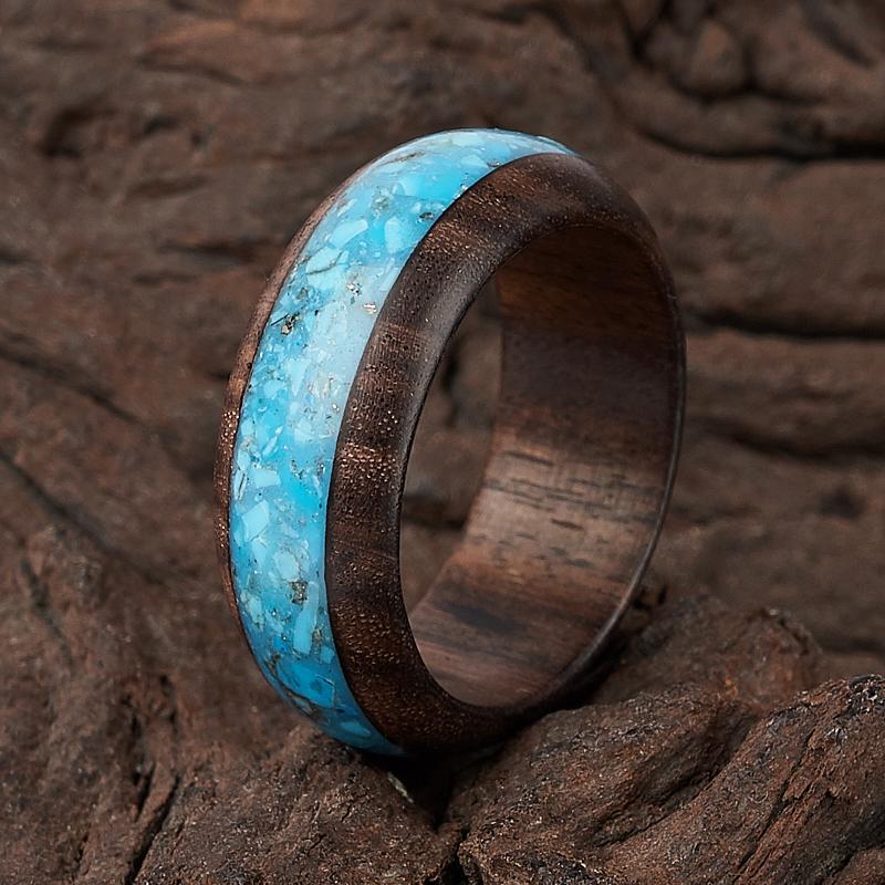 Кольцо бирюза Мексика (дерево) размер 18