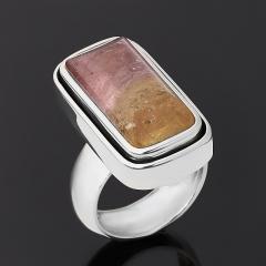 Кольцо турмалин полихромный Россия (серебро 925 пр. оксидир.) огранка размер 17,5