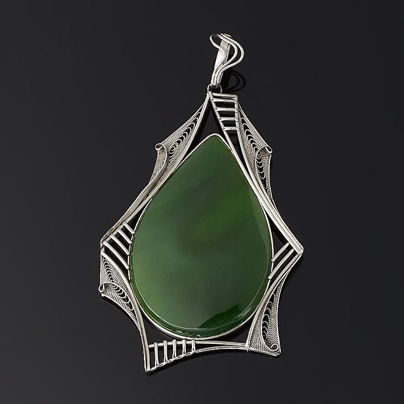 Кулон нефрит зеленый Россия (нейзильбер) 10 см
