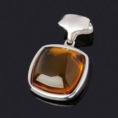 Кулон янтарь Россия (серебро 925 пр. родир. бел.) квадрат