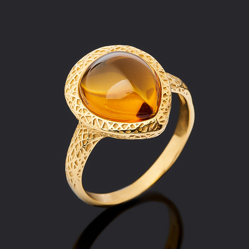 Кольцо янтарь (серебро 925 пр. позолота) размер 18