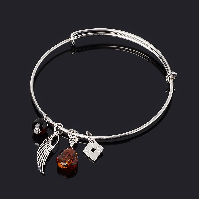 Браслет янтарь (серебро 925 пр. родир. бел.) 18 см (регулируемый)