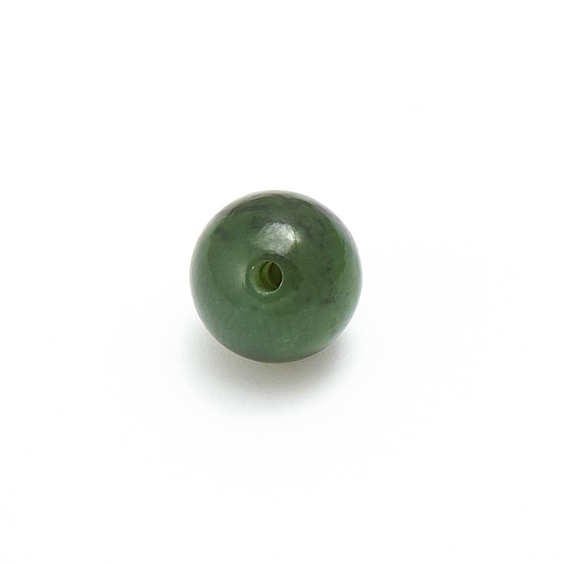 Бусина нефрит зеленый Россия шарик 10 мм (1 шт)
