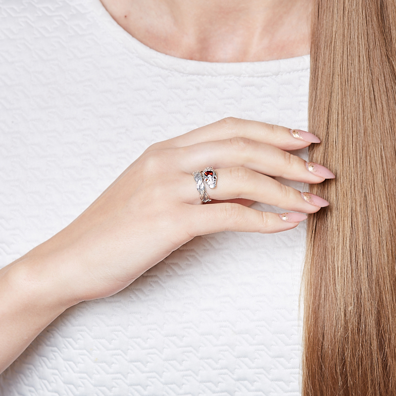 Кольцо гранат альмандин Индия (серебро 925 пр. оксидир.) огранка (регулируемый) размер 18