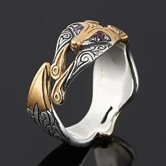 Кольцо аметист Намибия (серебро 925 пр. оксидир., позолота) огранка (регулируемый) размер 17,5