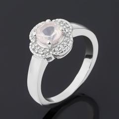 Кольцо розовый кварц Бразилия (серебро 925 пр. родир. бел.) огранка размер 17,5