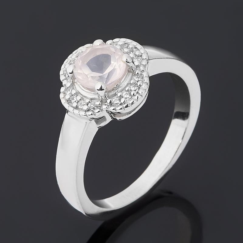 Кольцо розовый кварц (серебро 925 пр. родир. бел.) огранка размер 17,5