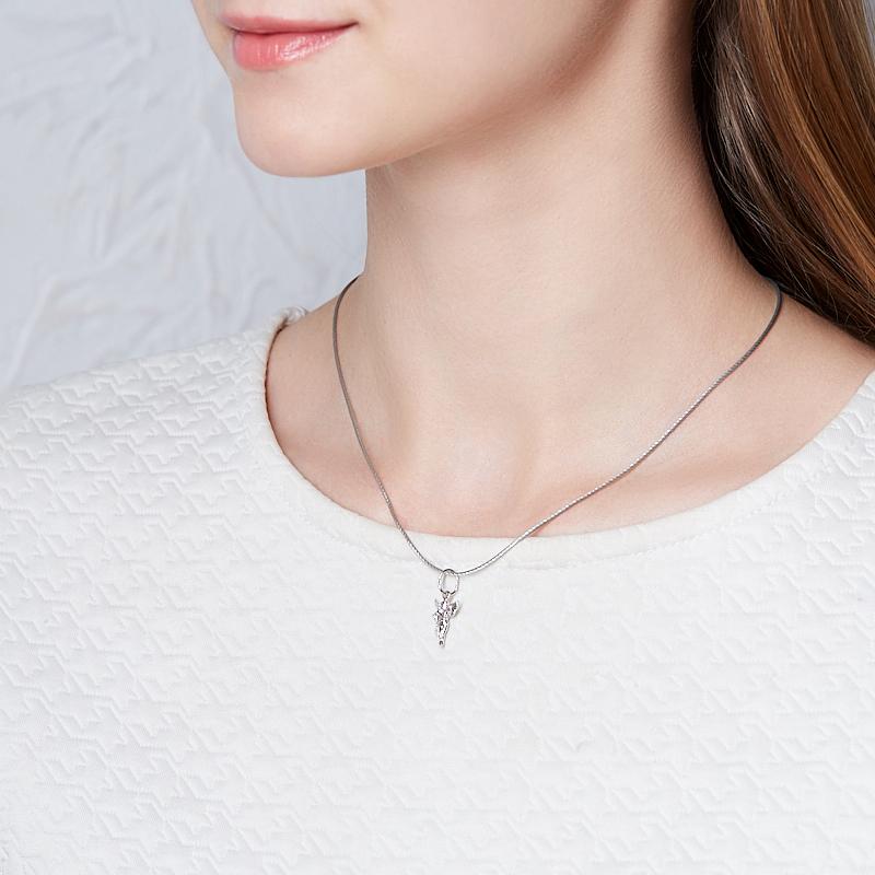 Кулон изумруд Колумбия (серебро 925 пр. родир. бел.) Ангел-хранитель огранка