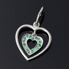 Кулон изумруд Колумбия (серебро 925 пр. родир. бел.) сердечко огранка