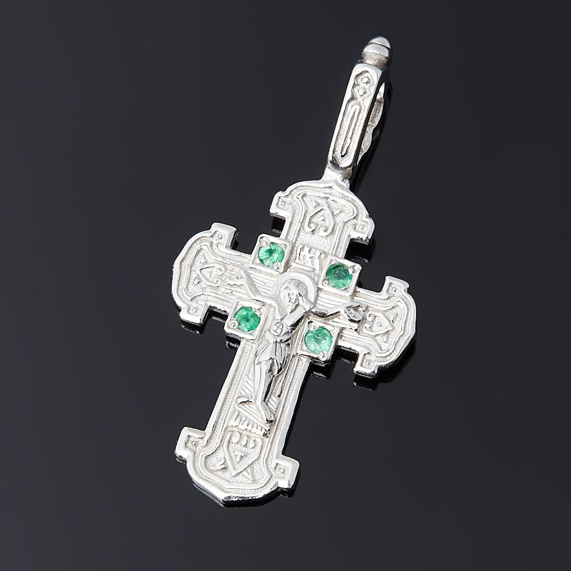 Кулон изумруд Колумбия (серебро 925 пр.) крест огранка