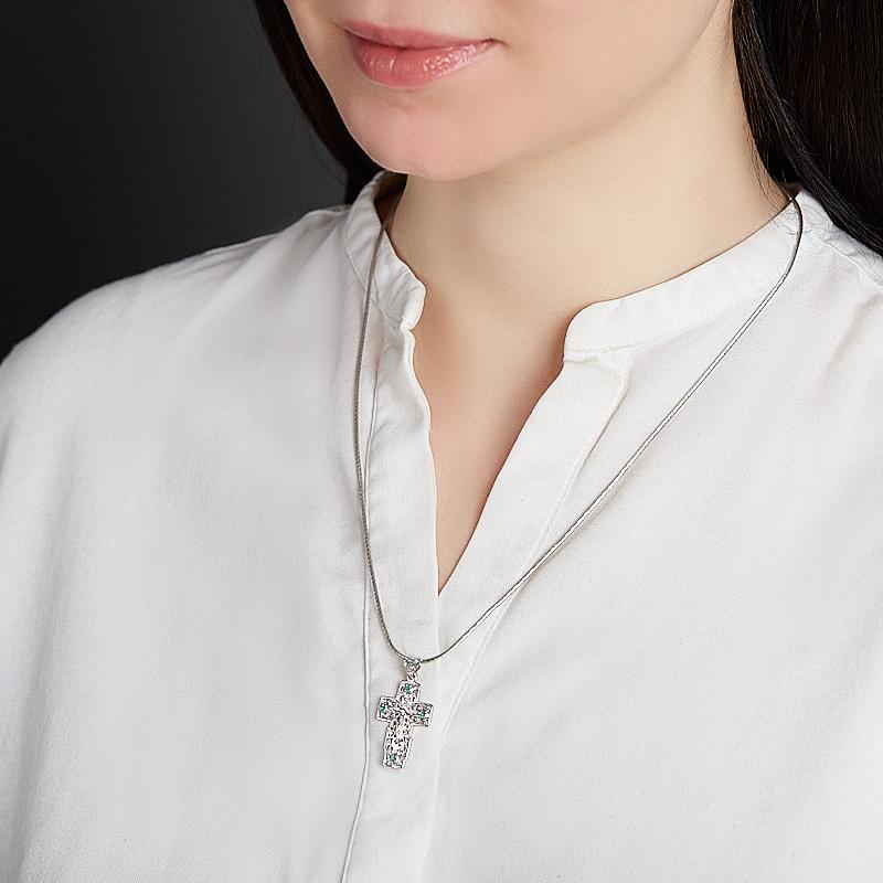Кулон изумруд Колумбия (серебро 925 пр. родир. бел.) крест огранка