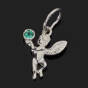 Кулон изумруд Колумбия (серебро 925 пр.) Ангел-хранитель огранка
