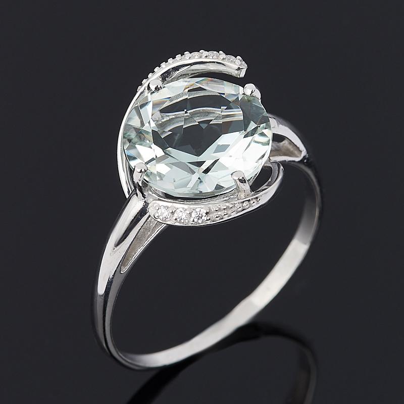 Кольцо празиолит (серебро 925 пр. родир. бел.) огранка размер 17