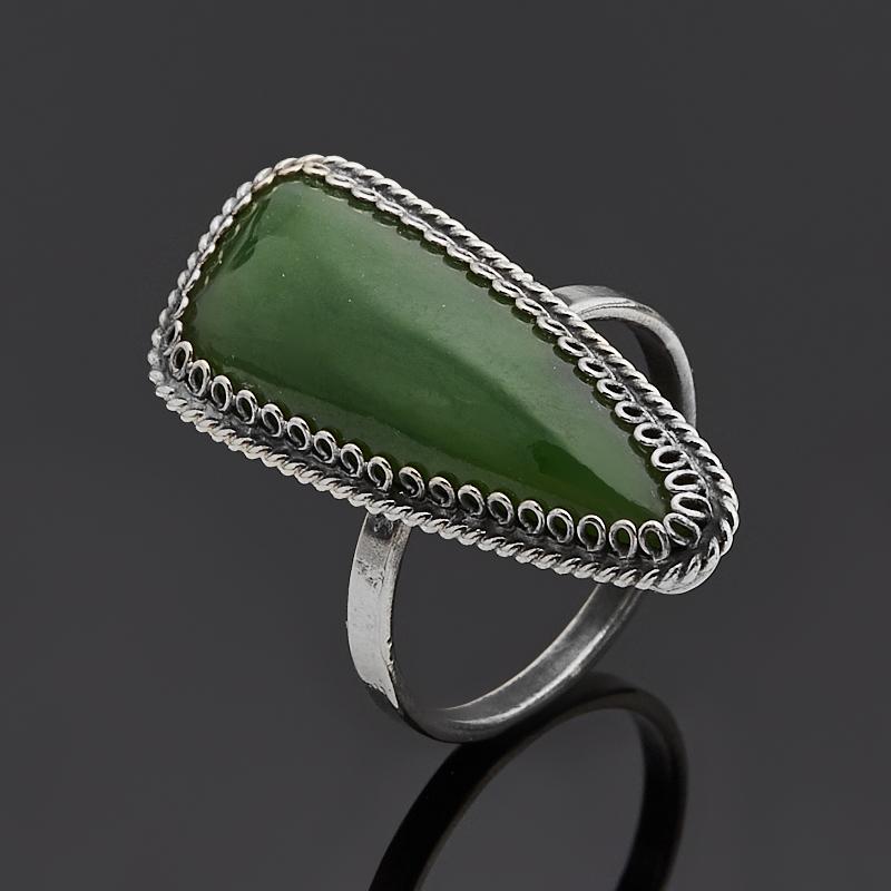 Кольцо нефрит зеленый (нейзильбер) размер 17,5