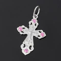 Кулон рубин Мьянма крест огранка (серебро 925 пр. родир. бел.)