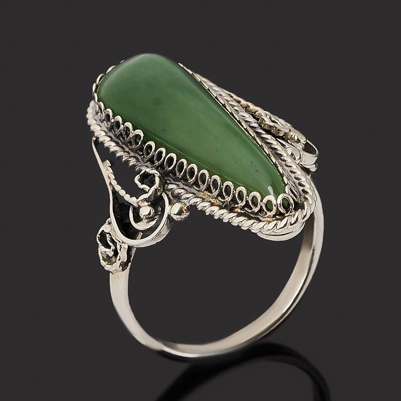 Кольцо нефрит зеленый (нейзильбер) размер 17