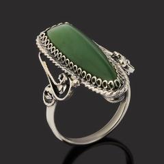 Кольцо нефрит зеленый Россия (нейзильбер) размер 16,5