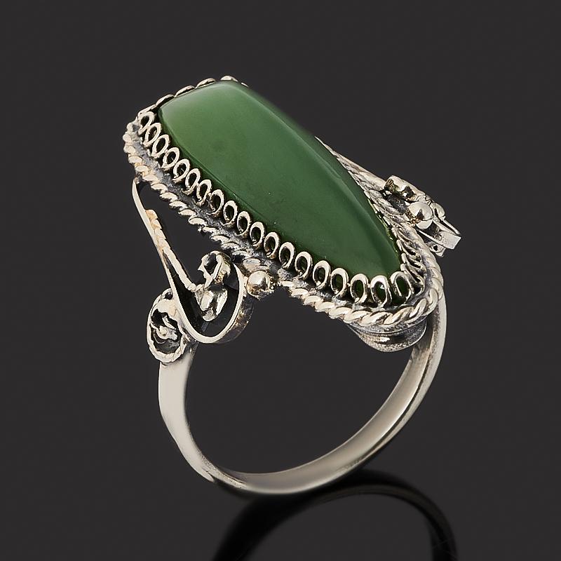 Кольцо нефрит зеленый (нейзильбер) размер 16,5