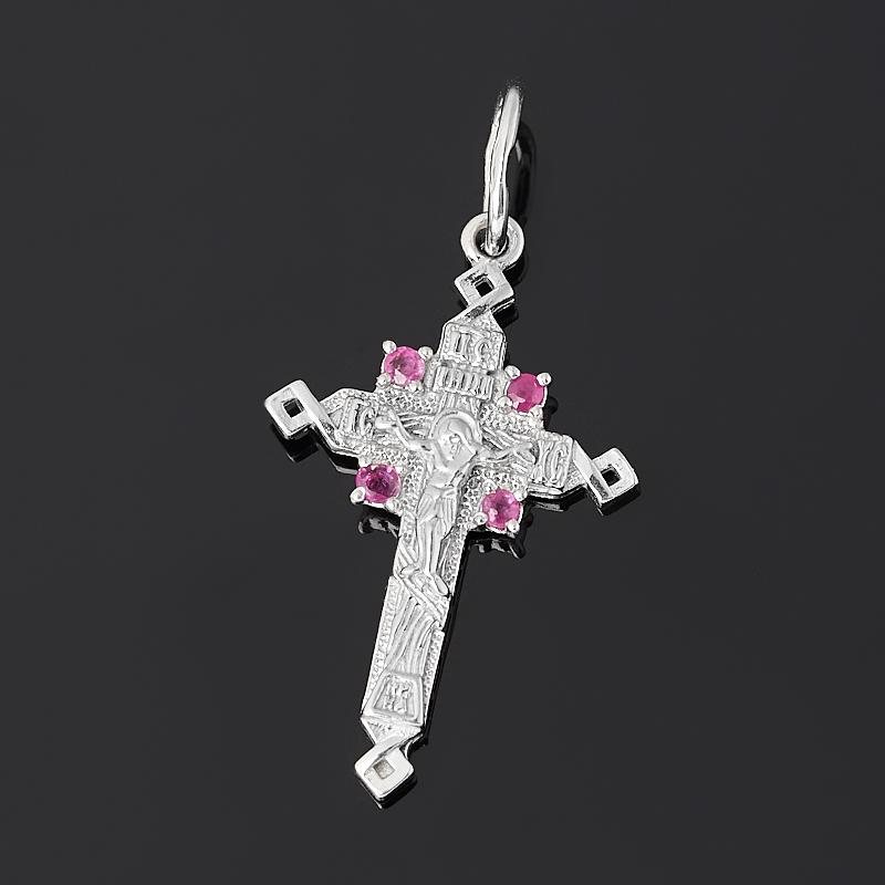кулон нечаянная радость рубин овал огранка серебро 925 пр Кулон рубин крест огранка (серебро 925 пр. родир. бел.)