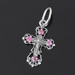 Кулон рубин Мьянма крест огранка (серебро 925 пр. оксидир. родир. бел.)