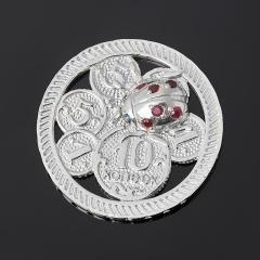 Денежный талисман микс рубин, сапфир (серебро 925 пр. родир. бел.) (монета)