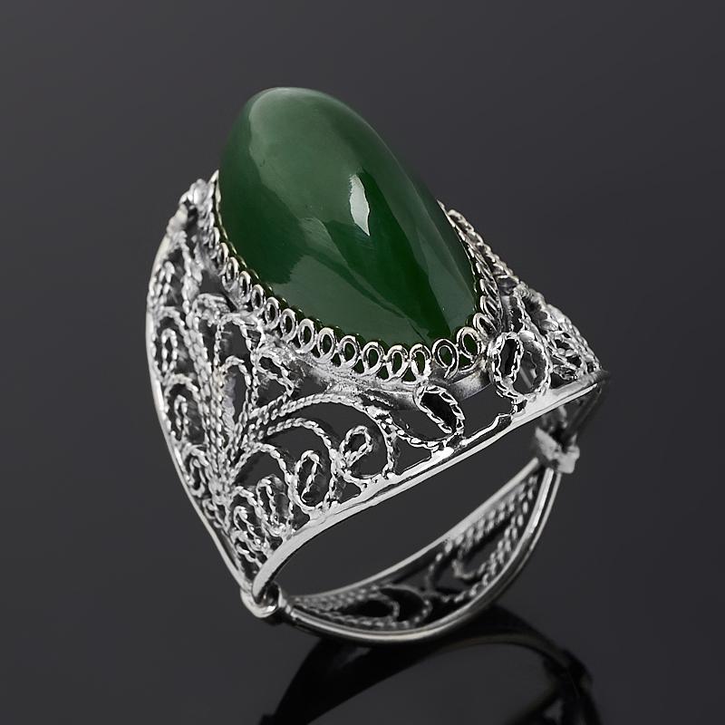 Кольцо нефрит зеленый (нейзильбер) размер 18,5