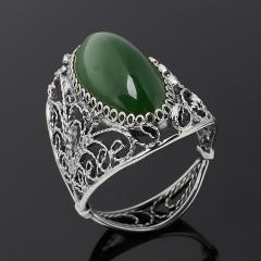Кольцо нефрит зеленый Россия (нейзильбер) размер 19,5
