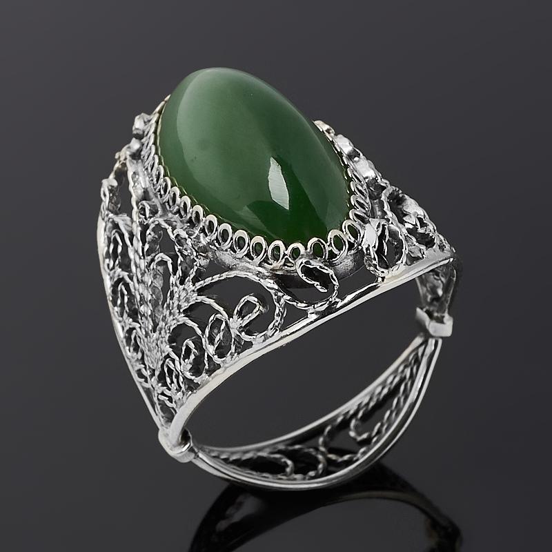 Кольцо нефрит зеленый (нейзильбер) размер 19,5