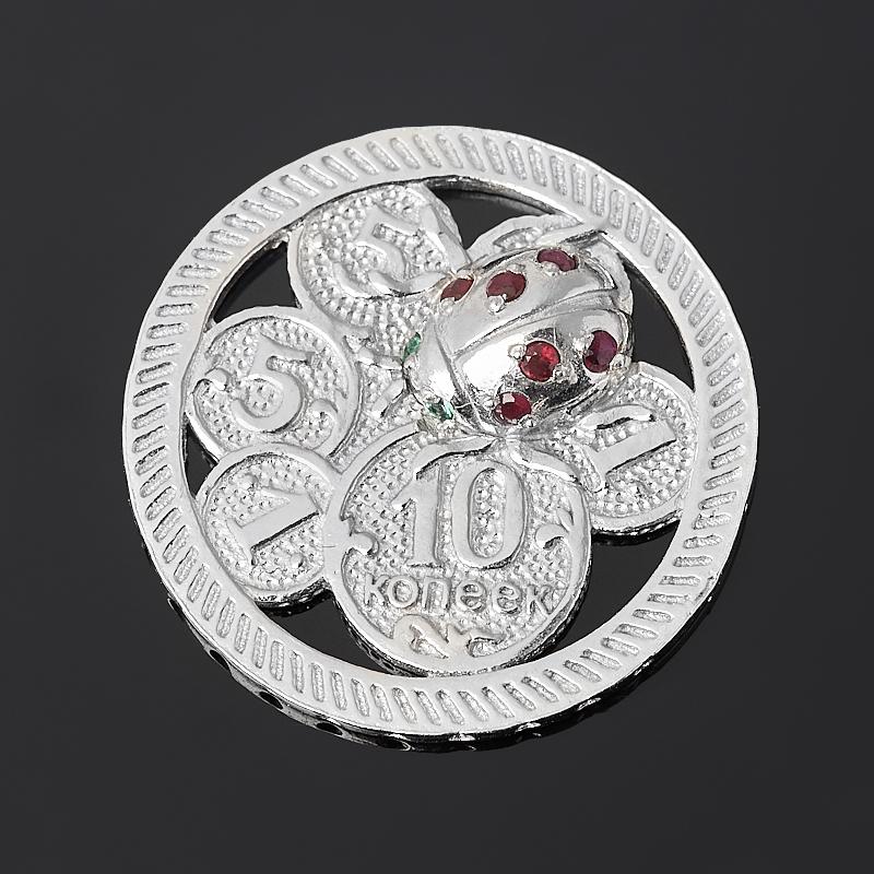 Денежный талисман микс изумруд, рубин (серебро 925 пр. родир. бел.) (монета)
