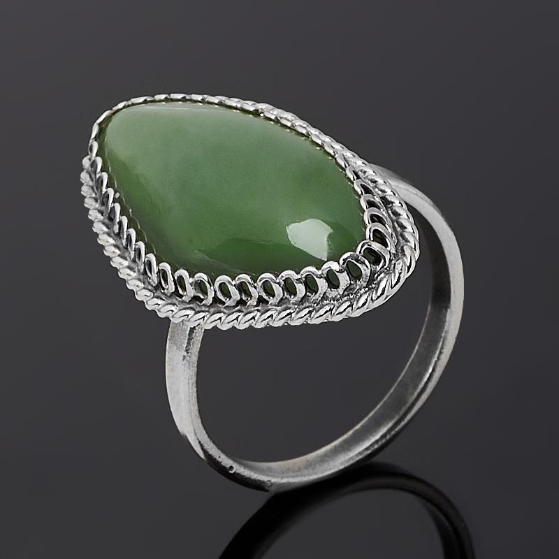 Кольцо нефрит зеленый (нейзильбер) размер 15,5