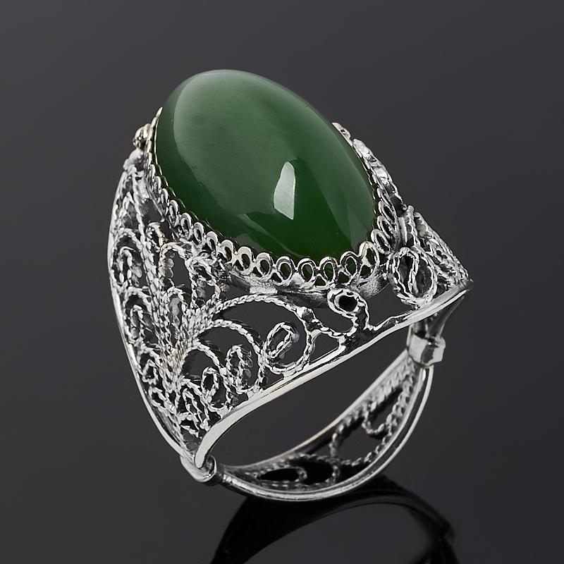 Кольцо нефрит зеленый (нейзильбер) размер 18