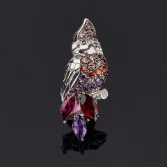 Брошь микс аметист, гранат (серебро 925 пр. родир. бел., родир. черн.) огранка