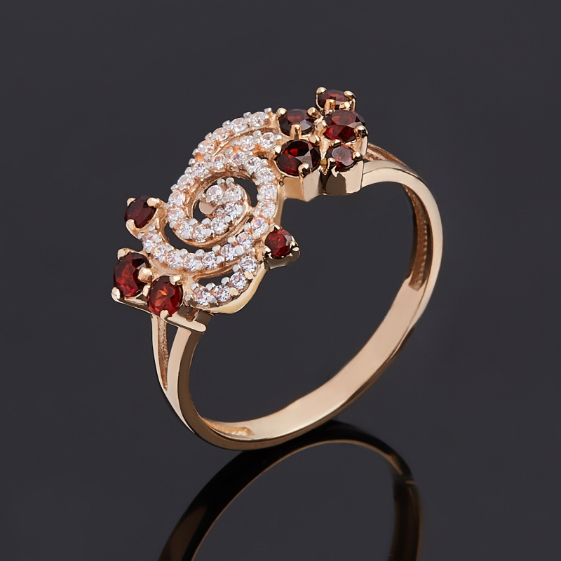 Кольцо гранат альмандин (золото 585 пр. родир. бел.) огранка размер 17