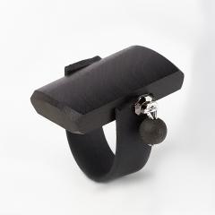 Кольцо гагат матовый Грузия (каучук, биж. сплав) размер 17 (регулируемый)