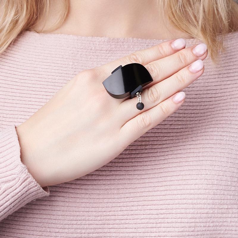 Кольцо гагат Грузия (биж. сплав, каучук) (регулируемый) размер 17,5