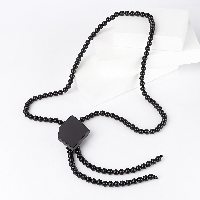 Бусы гагат (галстук) 50 см